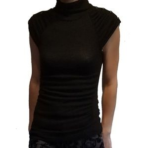 Sweaters - * Black Runched Shirt Turtleneck Small Sweater